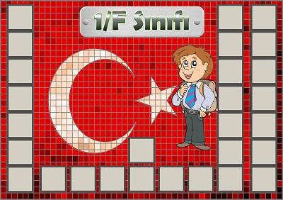 Model 54, 1F şubesi için Türk bayraklı fotoğraf eklemeli kapı süslemesi - 28 öğrencilik