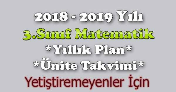 2018 - 2019 Yılı 3.Sınıf Matematik Yıllık Plan, Ünite Süreleri (Yetiştiremeyenler İçin)