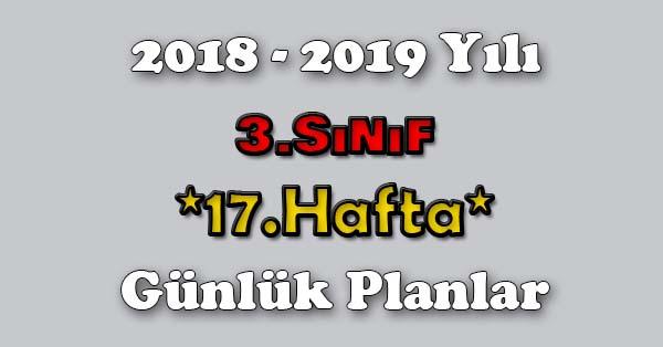2018 - 2019 Yılı 3.Sınıf Tüm Dersler Günlük Plan - 17.Hafta