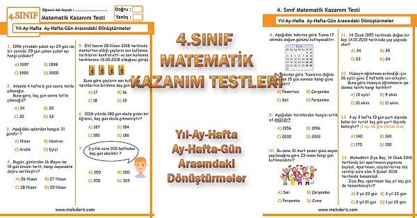 4.Sınıf Matematik Kazanım Testi - Yıl-Ay-Hafta Arasındaki Dönüştürmeler