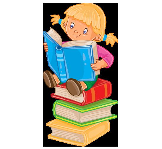 Clipart sıralı dizilmiş kitapların üzerinde kitap okuyan kız çocuk resmi