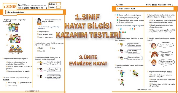 1.Sınıf Hayat Bilgisi Kazanım Testi - 2.Ünite - Evimizde Hayat
