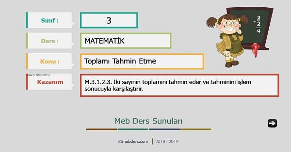 3.Sınıf Matematik Toplamı Tahmin Etme Sunusu