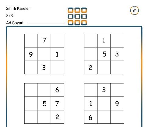 Sihirli Kareler (3x3) Zeka Etkinliği 6