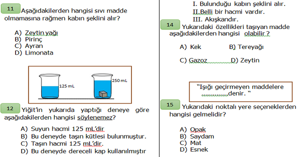 4.Sınıf Fen Bilimleri Maddenin Özellikleri Ünite Değerlendirmesi