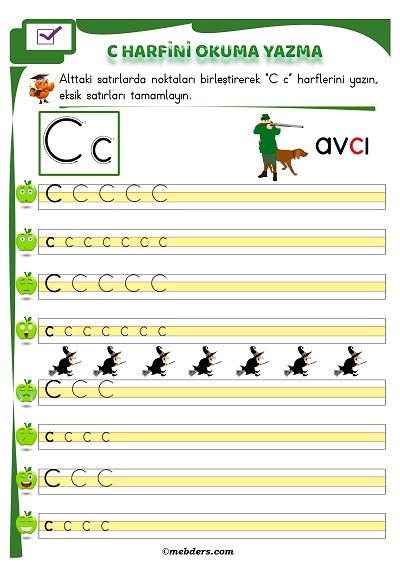 1.Sınıf İlkokuma C Sesi Okuma Yazma Etkinliği