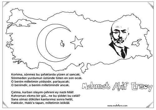 Türkiye Haritalı Mehmet Akif Ersoy Boyama
