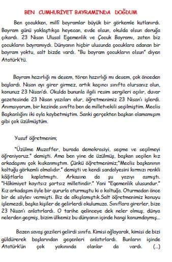 3. Sınıf Türkçe Ben Cumhuriyet Bayramı'nda Doğdum ( Metin Şekli )