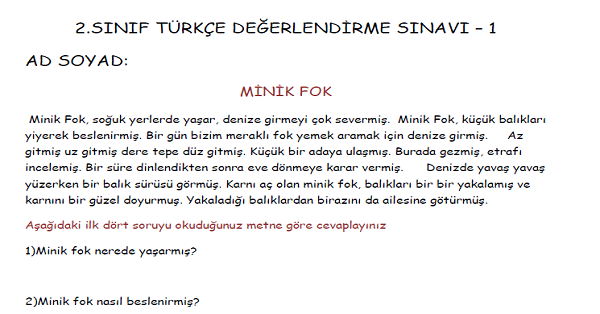 2.Sınıf Türkçe Değerlendirme