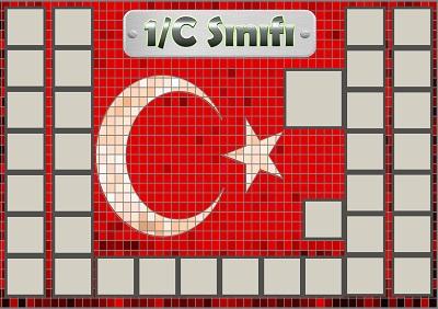 Model 54, 1C şubesi için Türk bayraklı fotoğraf eklemeli kapı süslemesi - 35 öğrencilik