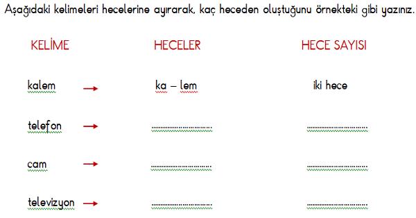 1 Sinif Turkce Hece Ve Kelime Calisma Etkinligi 4 Meb Ders