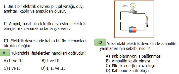 4.Sınıf Fen Bilimleri Basit Elektrik Devreleri Değerlendirme Etkinliği
