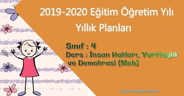 2019 - 2020 Yılı 4.Sınıf İnsan Hakları, Yurttaşlık ve Demokrasi Yıllık Planı (Meb)