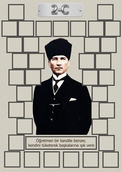 Model 15, 2C şubesi için Atatürk temalı, fotoğraf eklemeli kapı süslemesi - 35 öğrencilik