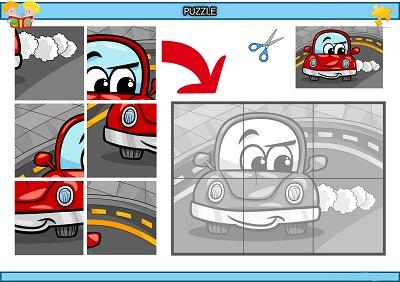 Kes yapıştır sevimli otomobil puzzle etkinlik