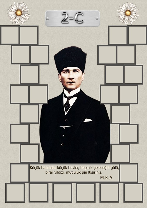 Model 15, 2C şubesi için Atatürk temalı, fotoğraf eklemeli kapı süslemesi - 29 öğrencilik