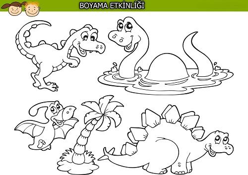 Sevimli dinozorlar boyama etkinliği