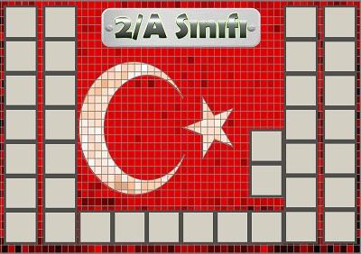 Model 54, 2A şubesi için Türk bayraklı fotoğraf eklemeli kapı süslemesi - 36 öğrencilik