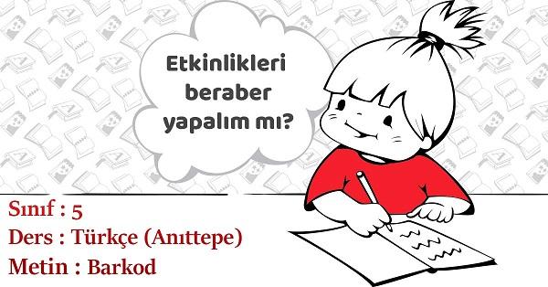 5.Sınıf Türkçe Barkod Metni Etkinlik Cevapları (Anıttepe)