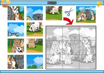 Kes yapıştır köpek topluluğu puzzle etkinlik