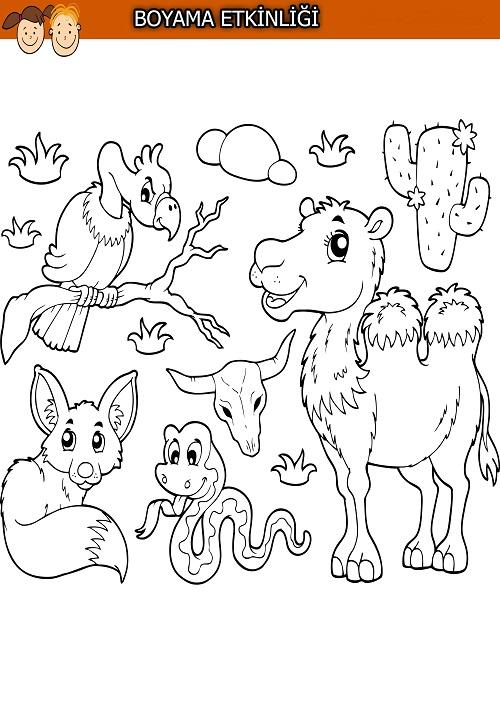 Çöl temalı hayvanlarla boyama etkinliği