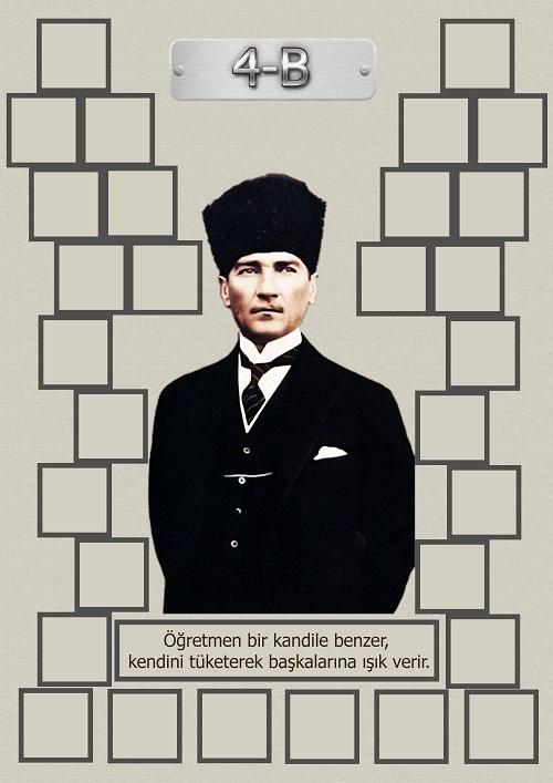 Model 15, 4B şubesi için Atatürk temalı, fotoğraf eklemeli kapı süslemesi - 30 öğrencilik