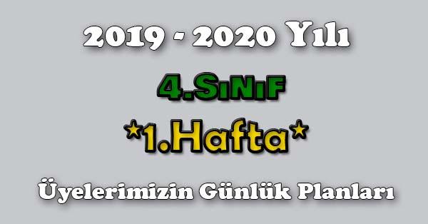 2019-2020 Yılı 4. Sınıf 1. Hafta Tüm Günlük Planlar Türkçe-KOZA