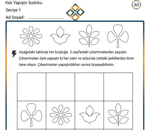 Kes Yapıştır Sudoku Etkinliği 30 (Seviye 1)