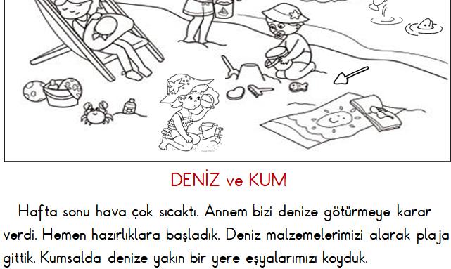 1.Sınıf Türkçe Okuma ve Anlama (Deniz ve Kum) Etkinliği 9