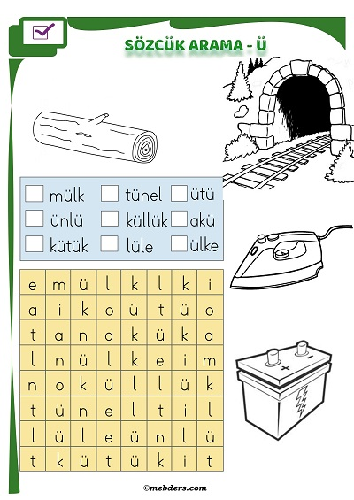 1.Sınıf İlkokuma Boyamalı Sözcük Arama Etkinliği - Ü Sesi