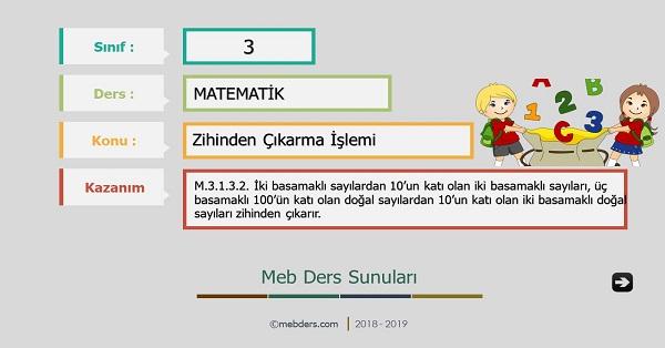 3.Sınıf Matematik Zihinden Çıkarma İşlemi Sunusu