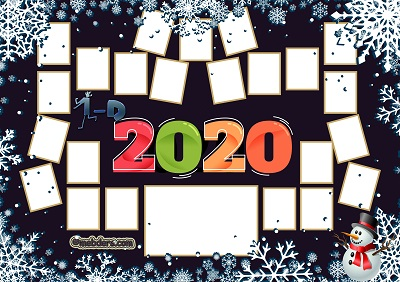 1D Sınıfı için 2020 Yeni Yıl Temalı Fotoğraflı Afiş (23 öğrencilik)