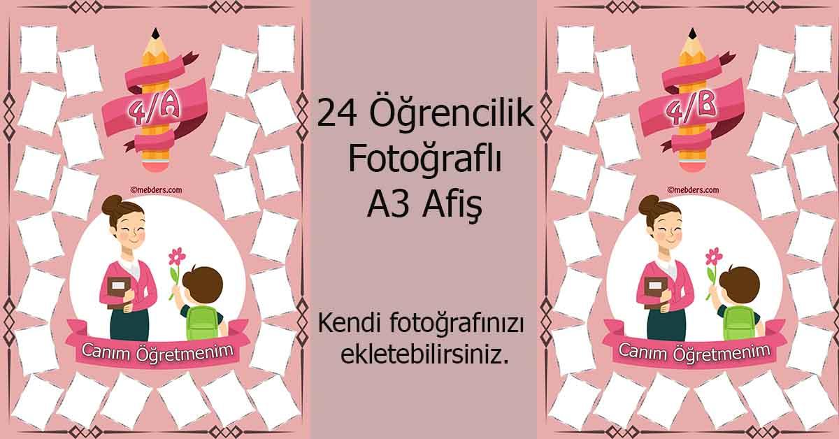 Fotoğraf eklemeli öğretmen ve öğrencilerine özel 4.sınıf afişleri