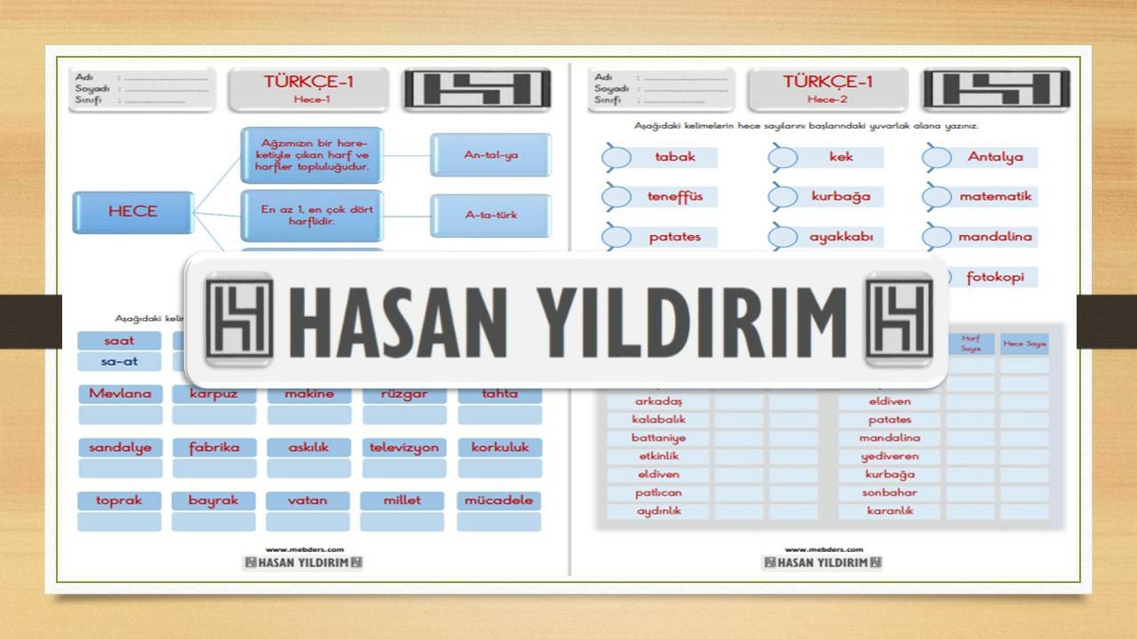 1.Sınıf Türkçe Hece Bilgisi Etkinlik Sayfaları