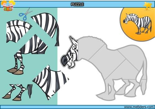 Kes yapıştır zebra puzzle etkinlik