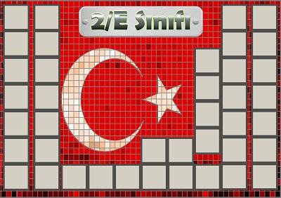 Model 54, 2E şubesi için Türk bayraklı fotoğraf eklemeli kapı süslemesi - 40 öğrencilik