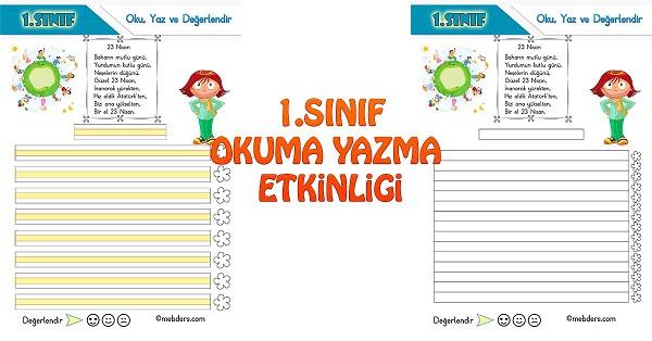 1 Sinif Turkce Oku Yaz Ve Degerlendir Etkinligi 1 23 Nisan