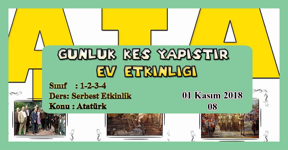 Günlük Kes Yapıştır Ev Etkinliği - Atatürk