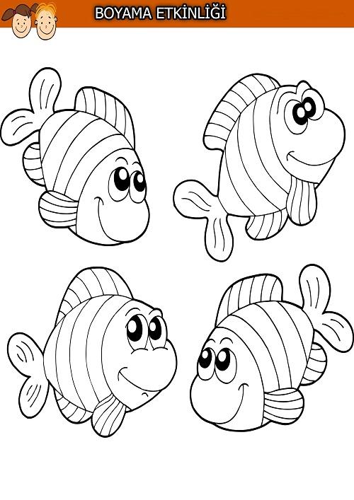 Sevimli dört balık boyama etkinliği