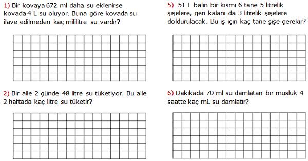 4.Sınıf Matematik Litre ve Mililitre ile İlgili Problemler (Sıvı Ölçme Problemleri) 2