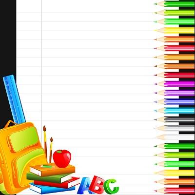 Okul araç gereçleriyle not yazma şablonu