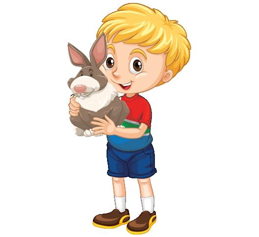 Clipart kucağında tavşan tutan kısa pantolonlu erkek çocuk resmi