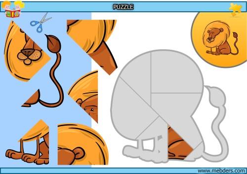 Kes yapıştır aslan puzzle etkinlik