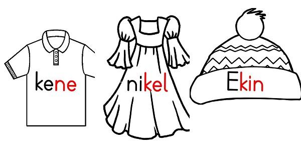 1.Sınıf ipe çamaşır asmak için hazırlanmış sözcüklü giysi afişleri - n sesi