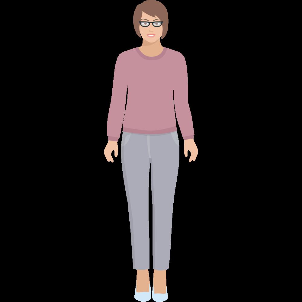 Clipart gözlüklü yetişkin bayan resmi