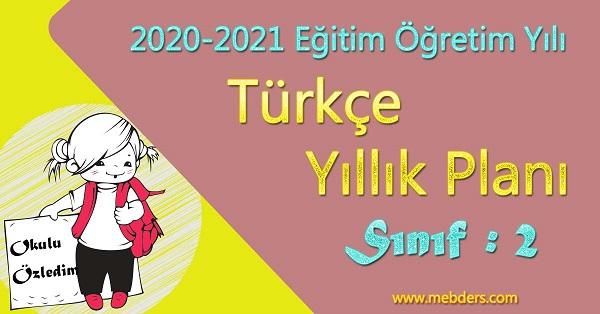 2020 - 2021 Yılı 2.Sınıf Türkçe Yıllık Planı (Koza Yayınevi)