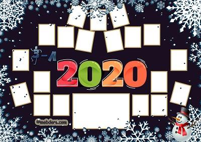 3A Sınıfı için 2020 Yeni Yıl Temalı Fotoğraflı Afiş (19 öğrencilik)