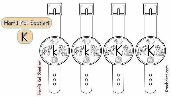 1.Sınıf İlkokuma Harfli Kol Saatleri - K Harfi