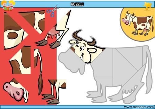 Kes yapıştır inek puzzle etkinlik