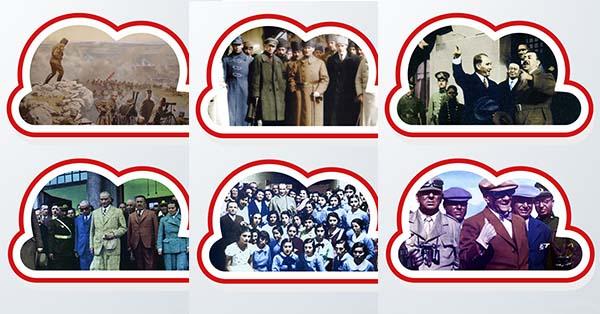 Panoya asmak için bulut temalı Atatürk fotoğrafları